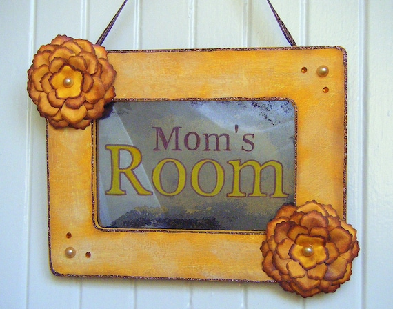 MOM'S ROOM Sign Antiqued Mirror Yellow Flowers Mother's Day Gift Craft Room Sanctuary Sunny