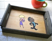 Wooden Tray 50's Couple