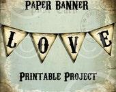 WHiMSiCaL LoVe Printable PaPeR BaNNeR GaRLaND original digital download collage sheet vintage design paper craft supplies altered art