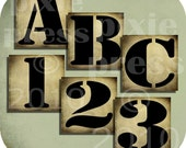 ViNTaGe GRuNGe aLPHaBeT LeTTeRs and NuMBeRs SHaBBy ViNTaGe LeTTeRs and NuMBeRs 1 x 1 inch squares DIGITAL COLLAGE SHEET U-PRINT alphabet antique stencil altered art paper craft supplies handmade greeting cards scrapbook labels