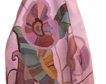 Silk Scarf Hand Painted Floral Duet in Lavender Pink and Silver Gray. Gift for Her. French Serti Silk Painting Technique. Natural Silk.
