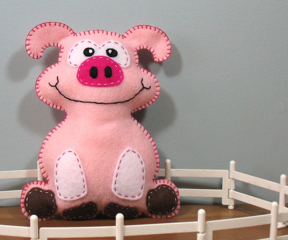 Stuffed Pig PATTERN - Sew by Hand Plush Felt Stuffed Animal PDF - Easy to Make