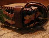 Beautiful...Handmade Woven and Leather Guatemalan Belt   size 30