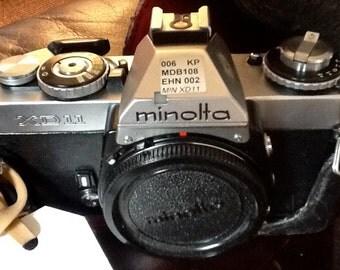 Minolta 35 mm Camera in a Leather Case
