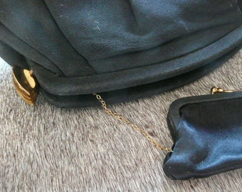 Unusual Vintage 1940s Black Clutch Purse with Chained Coin Purse Opens with Side Clasps Amazing Shape