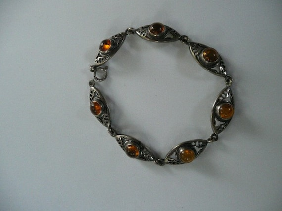 Beautiful Amber and Sterling Silver Bracelet