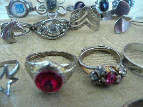 Twenty Two Adjustable Vintage Silvertone RIngs