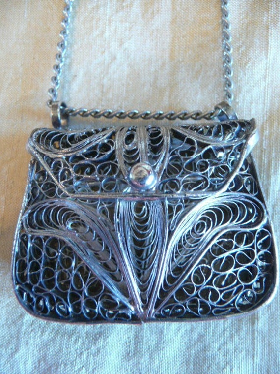 RESERVE for TINA Small Vintage Silver Filagree Purse On a Long Silver Chain