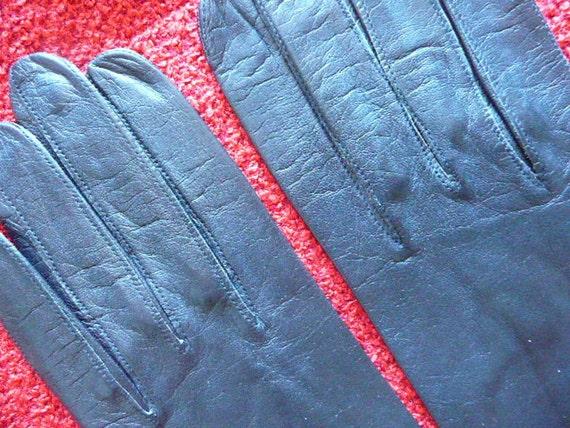Black Vintage Soft Long Leather Gloves For Women size 7