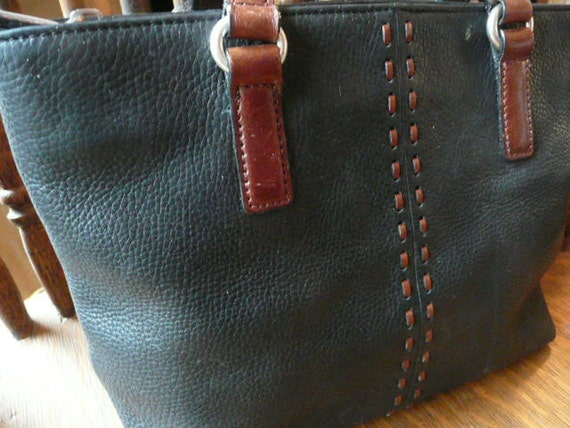 Women's Black and Brown Leather Fossil Purse