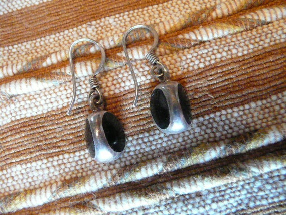 Little Vintage Sterling Silver and Onyx or Jet Earrings