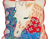 Hand Painted Organic Pillow Cover - Giraffe