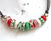 Funky lampwork necklace. Green and red.