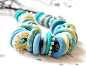 Necklace from blue and yellow Fimo. Free shipping