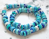 """Handmade Necklace """"Turquoise and Blue"""" of  polymer clay"""