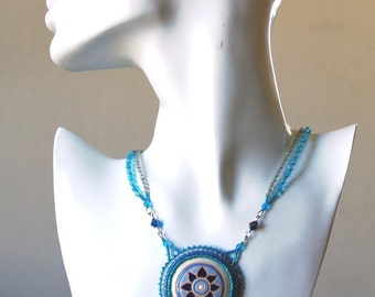Blue Sun Stoneware and Bead Embroidery Necklace