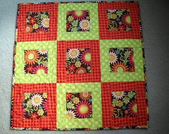 Orange Sun Flower Quilted Table Topper , Fall Flower Wall Hanging