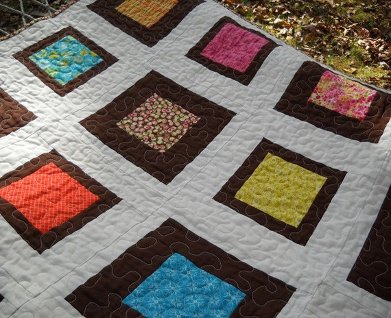 Picnic Parade Modern Quilt Toddler or Throw     ON SALE