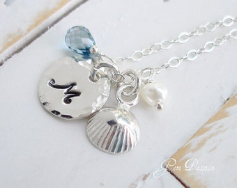 Sterling Silver Initial Necklace Seashell Necklace Beach Necklace London Blue Topaz White Pearl Hawaiian Jewelry/ Reserved for Lauren
