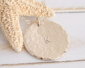Large Gold Initial Disc Necklace - 14k Gold Filled - Hammered - Personalized - Custom hand stamped - 3/4th disc - Initial - Name - Date