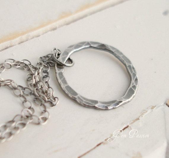 Karma Silver Circle Pendant Necklace - Fine Silver Oxidized Hammered Circle Disc Handmade Modern Organic Dark Halo Eternity Circle
