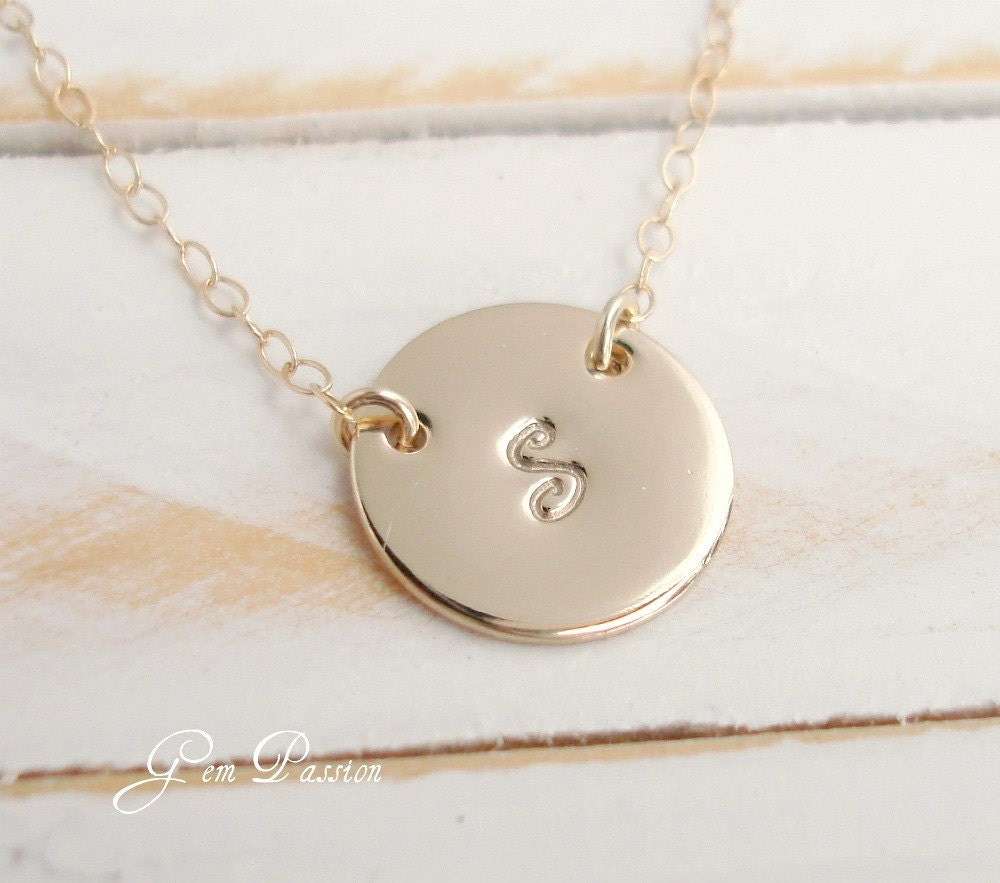 Gold filled initial disc necklace 14k gold filled custom for Gold filled jewelry