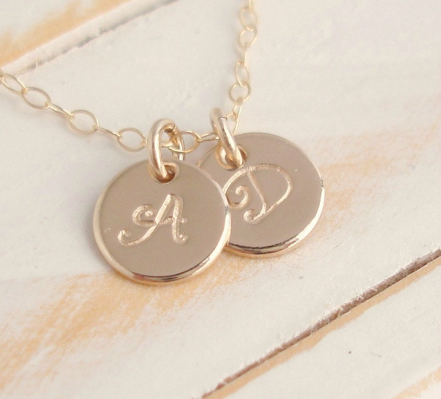 small initial disc necklace 14k gold filled by. Black Bedroom Furniture Sets. Home Design Ideas
