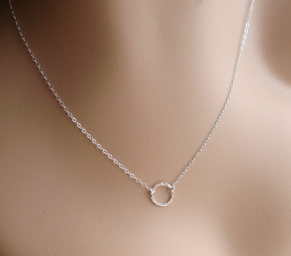 karma necklace sterling silver circle disc hammered necklace