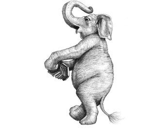 5x7 Giclee Print Delacorte Clock Musical Elephant with Accordion pencil illustration