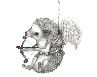 5x7 Giclee Print Happy Valentine's Day Hedgehog Pencil Illustration