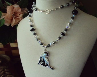 Black and White Kitty Cat necklace accented with Swarovski crystals