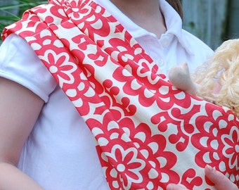 Doll Sling Pouch Carrier Original Pleated Shoulder Baby Doll Sling - MEDIUM - Keeps Sling on Shoulder and No Need to Fold
