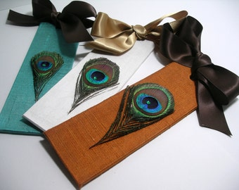Peacock Wedding/Save the Date/Wedding Favors/Peacock Bookmarks - (Custom Colors Available)