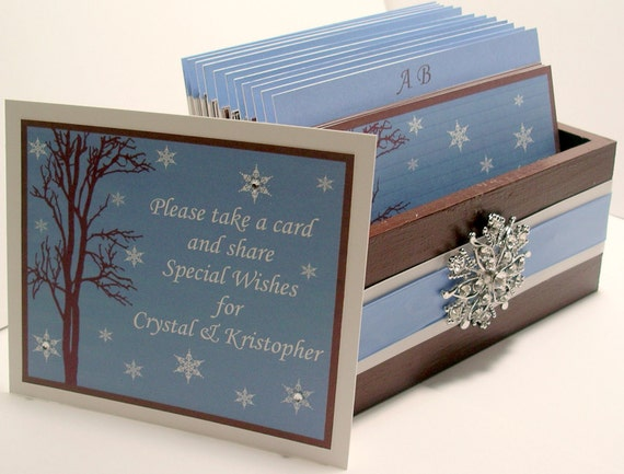 Winter Wedding Guest Book Box Set w/Snowflake Rhinestone Brooch - Chocolate, Ice Blue and White