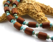 Unisex Necklace Wood Beads Turquoise and Sterling Silver