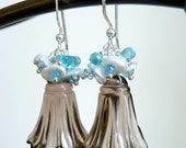 Blue Topaz ,Apatite, Keishi Pearl, Bell Carved Smoky Quartz, Silver Earrings