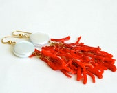 Coin Pearl, Red Coral, Long Cluster Earrings