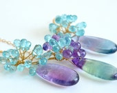 Fluorite Apatite Amethyst Gold Filled Earrings Necklace Set