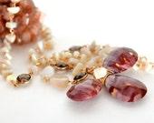 Australian Opal, Mookaite, Smoky Quartz, Gold Lariat Necklace