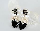 Black Onyx and Pearl Flower Earrings