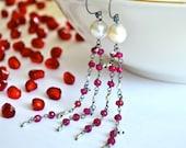 Ruby, Baroque Pearl, Akoya Saltwater Keishi Pearl, Oxidized Sterling Silver Flapper Earrings