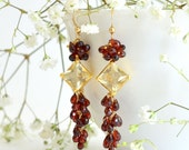 Lemon Quartz, Garnet Long Earrings