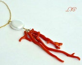 Pearl Red Coral Gold Filled Statement Necklace