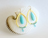 Fashion Drop Earrings Apatite Peruvian Amazonite Vermeil Ring