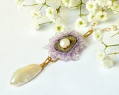 Reserved. Purple Amethyst Stalactite Biwa Pearl Gold Necklace