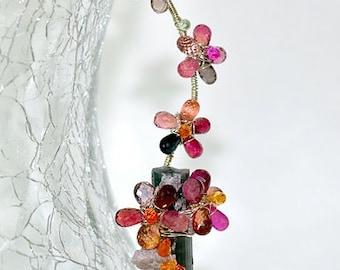 Watermelon Tourmaline, Sapphire, Silver, OOAK Flowers, Statement Necklace