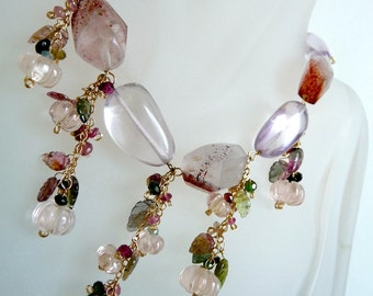 OOAK Tribal Necklace, Tourmaline Berry leaves, Lepidocrosite Quartz, Pink Amethyst, Rose Quartz