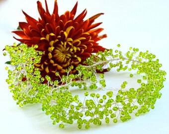 Swarovski Crystals Silver Bib Statement Necklace and Bracelet Set