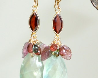 Watermelon Tourmaline Garnet Prehnite Gold  long Feminine Earrings