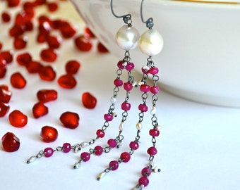 Ruby, Baroque Pearl, Akoya Saltwater Keishi Pearl, Oxidized Sterling Silver Flapper Earrings